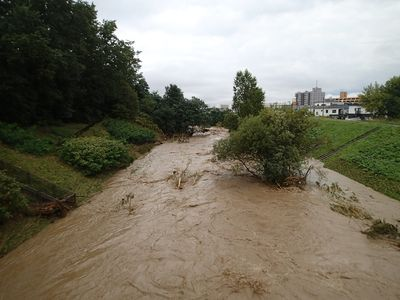 増水時の真駒内川